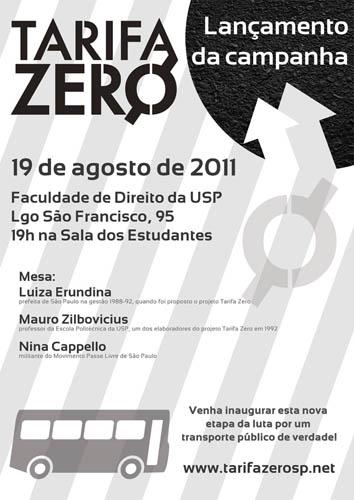 """Movimento lança campanha pela """"Tarifa Zero"""" em São Paulo"""