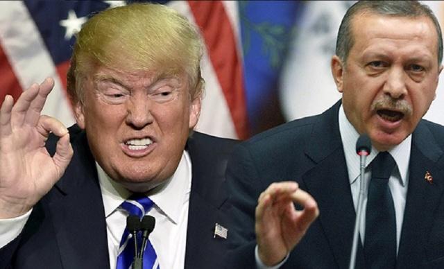 Esquerda-Donald Trump; Direita Recep Erdogan. Fonte: https://www.novinite.com/articles/185923/Erdogan+with+a+Sharp+Warning+to+Trump+about+Jerusalem